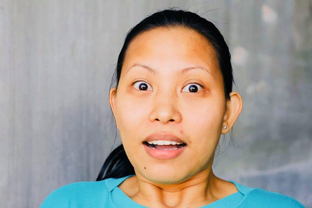 что говорит выражение лица на фото майонезной смесью, при