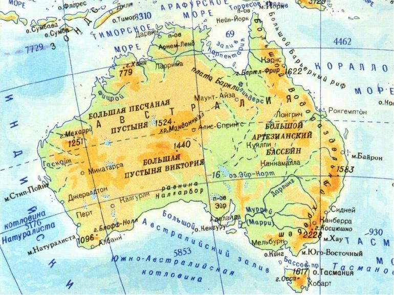 Карта крупные города австралии