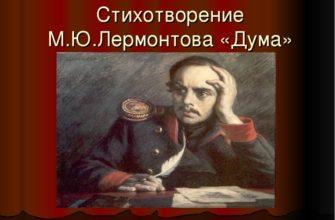 Стих «Думы» Лермонтова