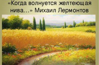 Стихотворение Лермонтова «Когда волнуется желтеющая нива»