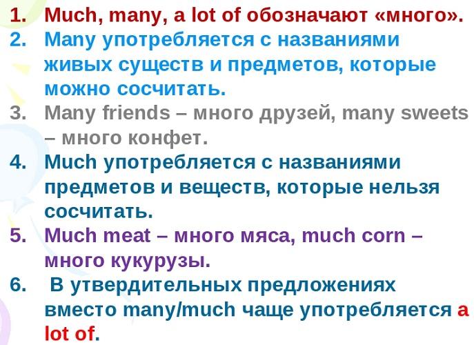 Much, Many, A lot of - упражнения