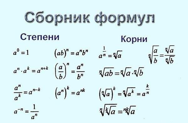 Формулы по математике, ЕГЭ