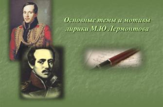 Основные темы лирики Лермонтова